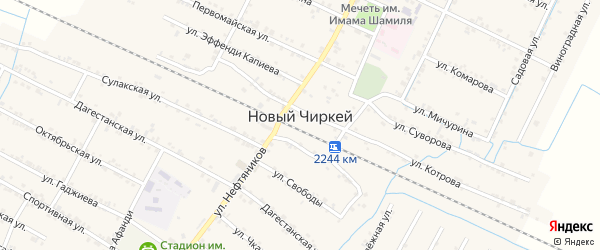 Улица М.Гаджиева на карте села Нового Чиркея с номерами домов
