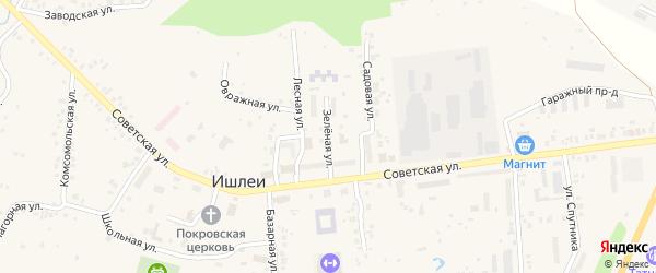 Зеленая улица на карте села Ишлеи с номерами домов