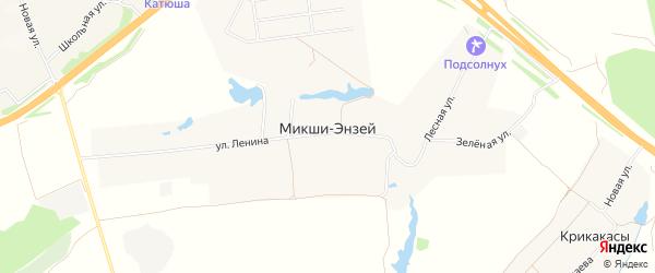 Карта деревни Микши-Энзея в Чувашии с улицами и номерами домов