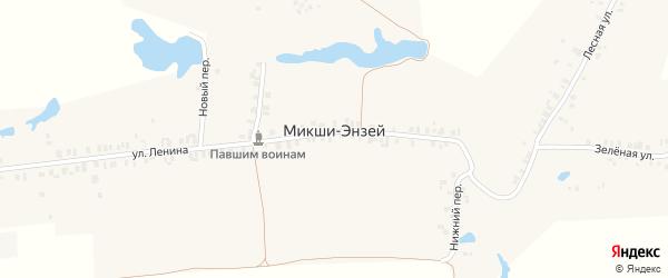 Зеленая улица на карте деревни Микши-Энзея с номерами домов