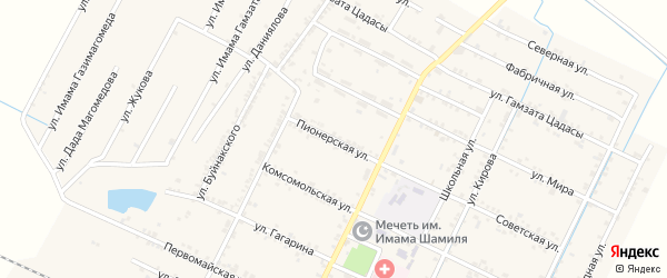 Пионерская улица на карте села Нового Чиркея с номерами домов