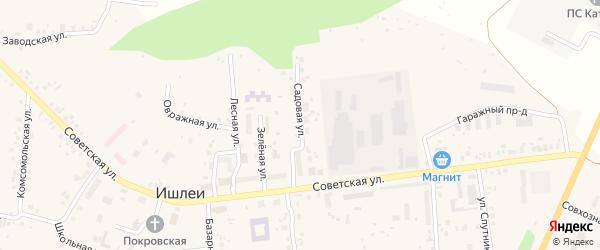 Садовая улица на карте села Ишлеи с номерами домов
