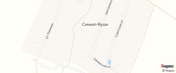 Улица Рахманы на карте деревни Синьяла-Яуши с номерами домов