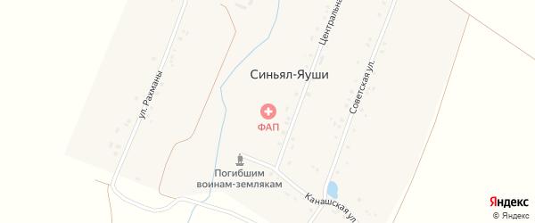 Канашская улица на карте деревни Синьяла-Яуши с номерами домов