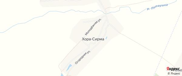 Карта деревни Хоры-Сирмы в Чувашии с улицами и номерами домов