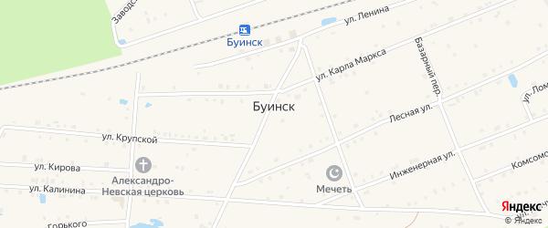 Комсомольская улица на карте поселка Буинска с номерами домов