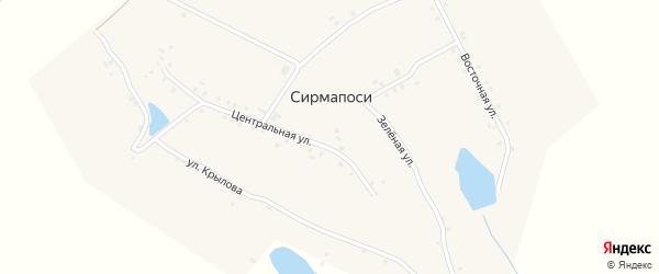 Зеленая улица на карте деревни Сирмапосей с номерами домов