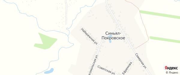 Набережная улица на карте деревни Синьяла-Покровского с номерами домов