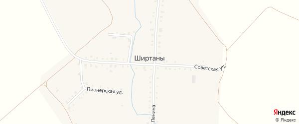 Южная улица на карте деревни Ширтаны с номерами домов