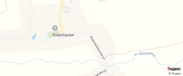 Комсомольская улица на карте села Кошлоуши с номерами домов