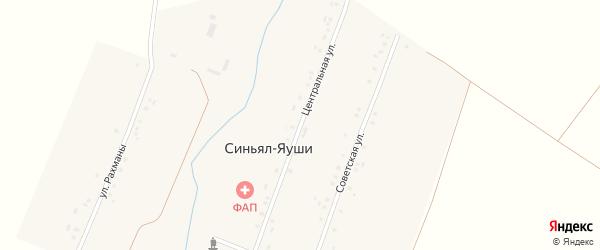 Центральная улица на карте деревни Синьяла-Яуши с номерами домов