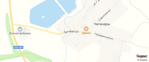 Луговая улица на карте деревни Чиганар с номерами домов