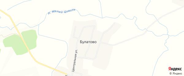 Карта деревни Булатово в Чувашии с улицами и номерами домов