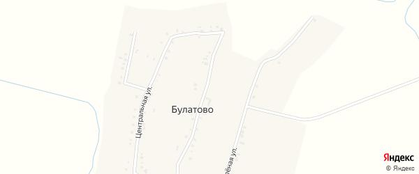 Зеленая улица на карте деревни Булатово с номерами домов