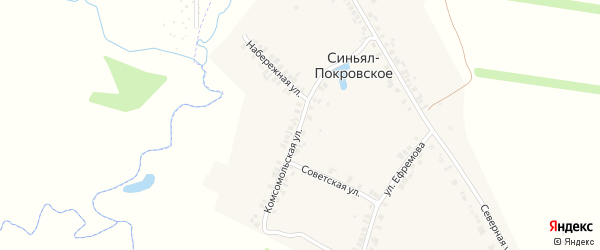 Комсомольская улица на карте деревни Синьяла-Покровского с номерами домов