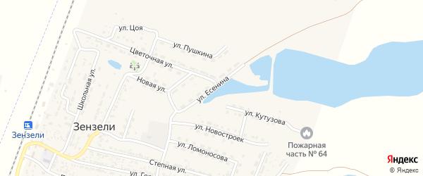 Улица Есенина на карте села Зензели с номерами домов