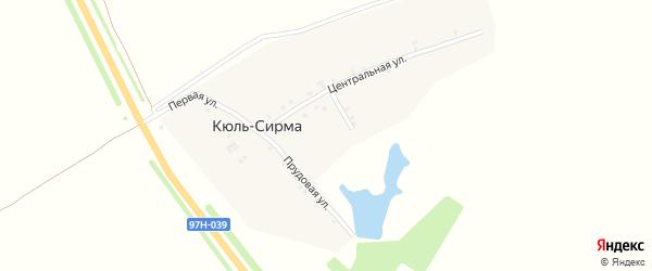 Центральная улица на карте деревни Кюль-Сирмы с номерами домов