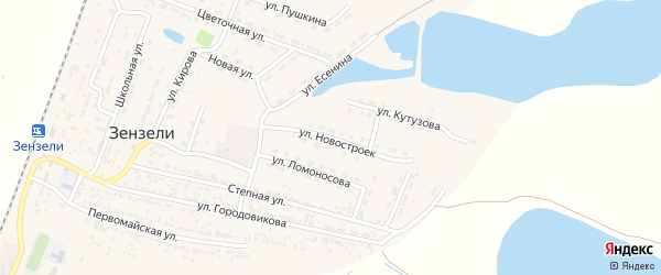 Улица Новостроек на карте села Зензели с номерами домов