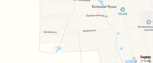 Зеленая улица на карте деревни Большие Яуши с номерами домов