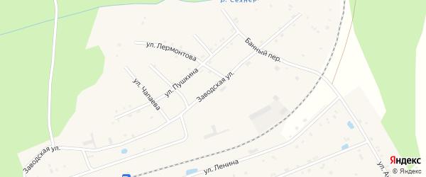 Заводская улица на карте поселка Буинска с номерами домов