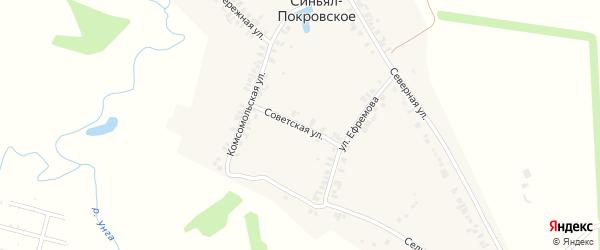 Советская улица на карте деревни Синьяла-Покровского с номерами домов