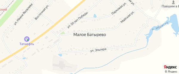 Переулок 50 лет Победы на карте деревни Малое Батырево с номерами домов