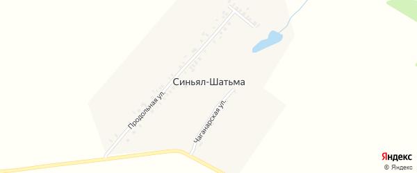 Продольная улица на карте деревни Синьяла-Шатьмы с номерами домов