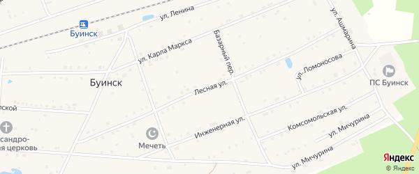 Лесная улица на карте поселка Буинска с номерами домов