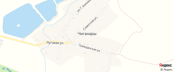 Полевая улица на карте деревни Чиганар с номерами домов