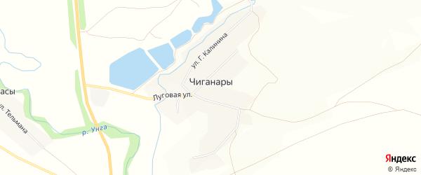 Карта деревни Чиганар в Чувашии с улицами и номерами домов