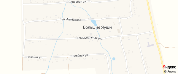 Коммунальная улица на карте деревни Большие Яуши с номерами домов