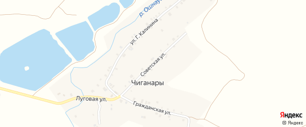 Советская улица на карте деревни Чиганар с номерами домов
