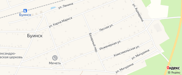 Базарный переулок на карте поселка Буинска с номерами домов