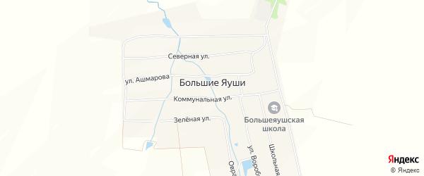 Карта деревни Большие Яуши в Чувашии с улицами и номерами домов