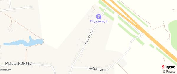 Лесная улица на карте деревни Микши-Энзея с номерами домов