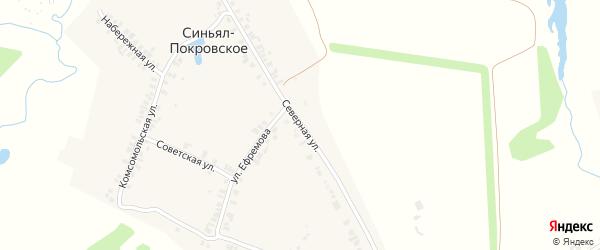 Северная улица на карте деревни Синьяла-Покровского с номерами домов