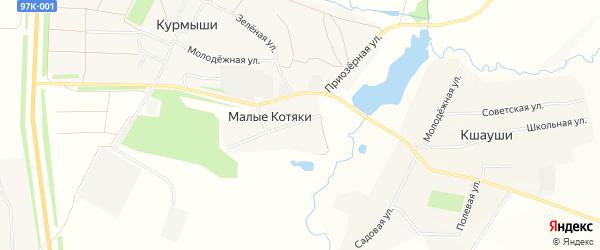 Карта деревни Малые Котяки в Чувашии с улицами и номерами домов