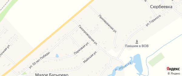 Газопроводная улица на карте деревни Сюрбеевки с номерами домов