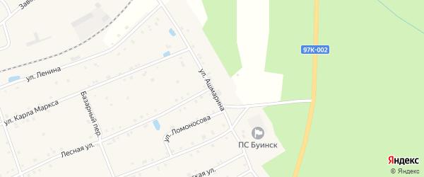 Улица Ашмарина на карте поселка Буинска с номерами домов
