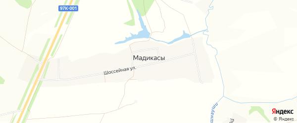 Карта деревни Мадикас в Чувашии с улицами и номерами домов