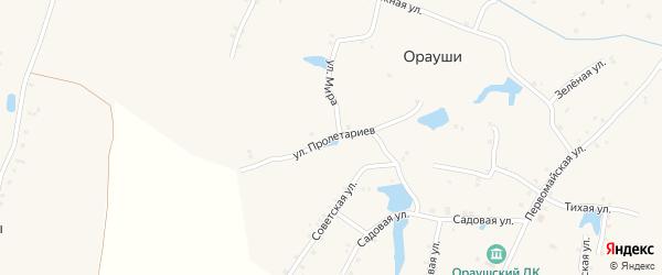 Улица Пролетариев на карте села Ораушей с номерами домов