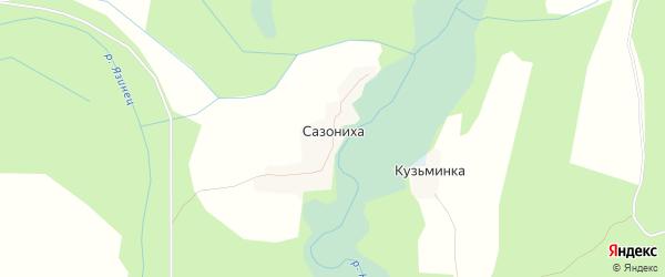 Карта деревни Сазонихи города Сольвычегодска в Архангельской области с улицами и номерами домов