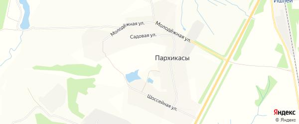 Карта деревни Пархикас в Чувашии с улицами и номерами домов
