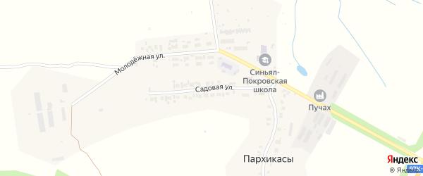 Садовая улица на карте деревни Пархикас с номерами домов