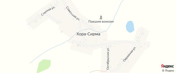 Зеленая улица на карте деревни Хора-Сирма (Янышского с/п) с номерами домов