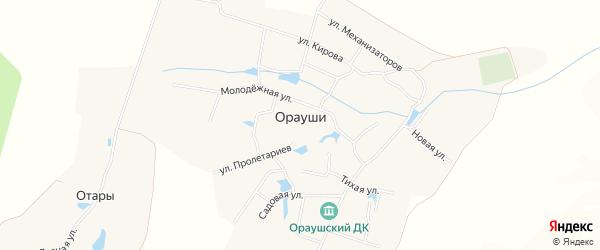 Карта села Ораушей в Чувашии с улицами и номерами домов
