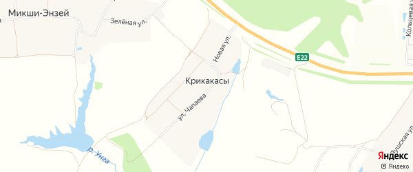 Карта деревни Крикакасы в Чувашии с улицами и номерами домов