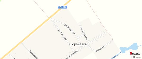 Хузангая улица на карте деревни Сюрбеевки с номерами домов