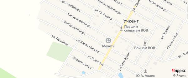 Экибулакская улица на карте села Учкента с номерами домов