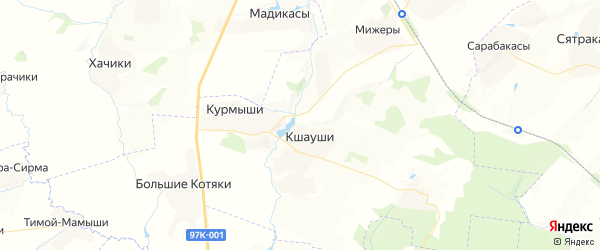 Карта Сарабакасинского сельского поселения республики Чувашия с районами, улицами и номерами домов